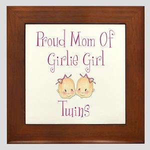 Proud Mom of Twin Girls Framed Tile