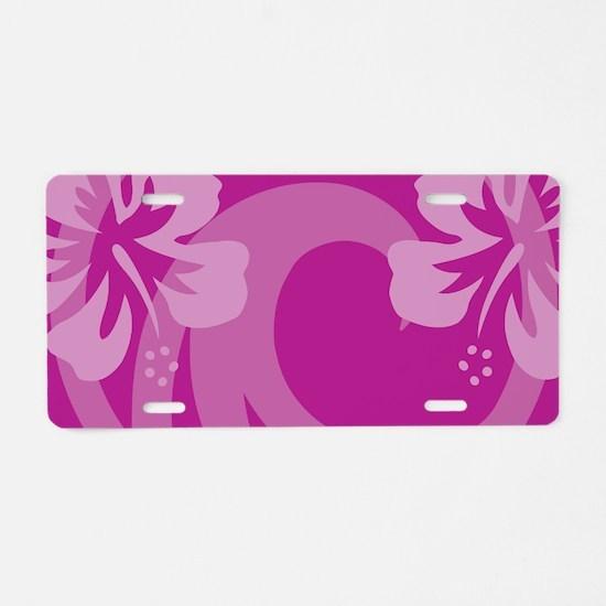 Hibiscus Purple Aluminum License Plate