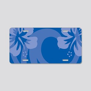 Hibiscus Blue Aluminum License Plate