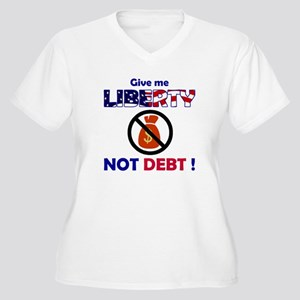 Liberty not Debt Women's Plus Size V-Neck T-Shirt