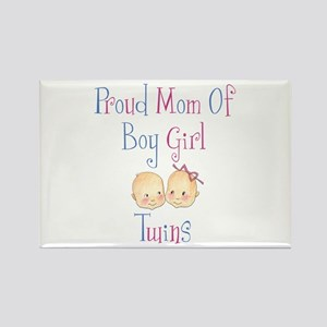 Proud Mom of Boy Girl Twins Rectangle Magnet