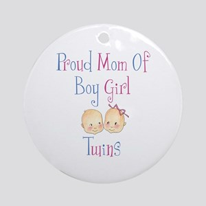 Proud Mom of Boy Girl Twins Ornament (Round)