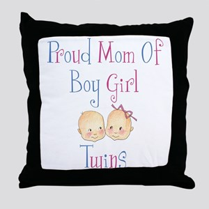 Proud Mom of Boy Girl Twins Throw Pillow