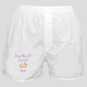 Proud Mom of Boy Girl Twins Boxer Shorts