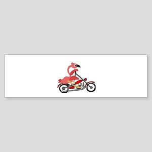 Flamingo Riding Motorcycle Bumper Sticker