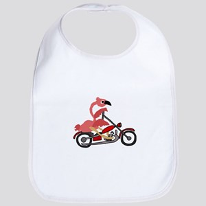 Flamingo Riding Motorcycle Baby Bib