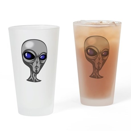 Grey Alien Head Pint Glass