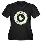 Legalize Marijuana Women's Plus Size V-Neck Dark T