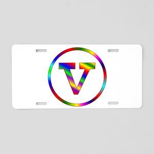 Letter V Aluminum License Plate