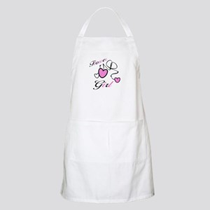 Pink Hearts Flower Girl BBQ Apron