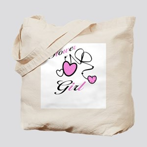 Pink Hearts Flower Girl Tote Bag