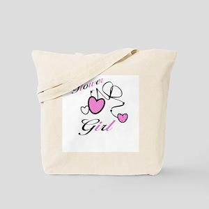 Pink Hearts Flower Girl Tote Bag