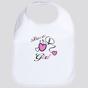 Pink Hearts Flower Girl Bib