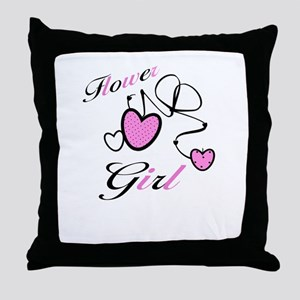 Pink Hearts Flower Girl Throw Pillow