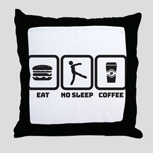 No Sleep Coffee Throw Pillow