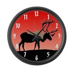 Sunset Caribou Large Wall Clock