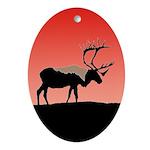 Sunset Caribou Oval Ornament