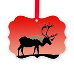 Sunset Caribou Picture Ornament