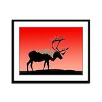 Sunset Caribou Framed Panel Print
