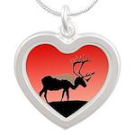 Sunset Caribou Silver Heart Necklace