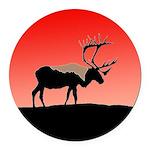 Sunset Caribou Round Car Magnet