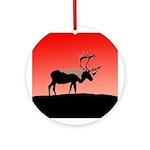 Sunset Caribou Round Ornament