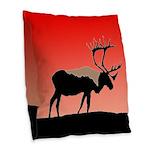 Sunset Caribou Burlap Throw Pillow