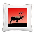 Sunset Caribou Square Canvas Pillow