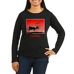 Sunset Caribou Women's Long Sleeve Dark T-Shirt