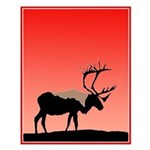 Sunset Caribou Small Poster