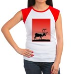 Sunset Caribou Junior's Cap Sleeve T-Shirt