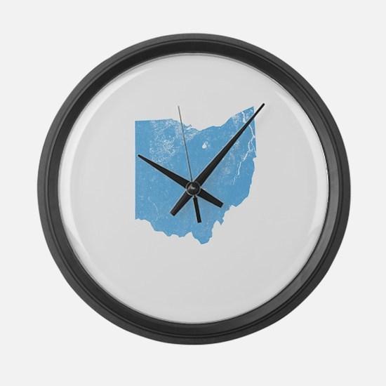 Vintage Grunge Baby Blue Blue Large Wall Clock