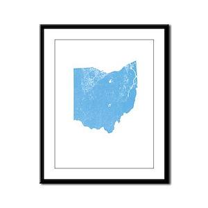 Vintage Grunge Baby Blue Blue Framed Panel Print