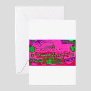 Mercury, pink, retro, car, Greeting Card