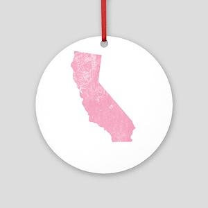 Vintage Grunge Pink California Ornament (Round)