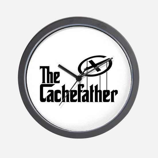 Geocaching THE CACHEFATHER black Wall Clock