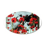 Audrey in Poppies 22x14 Oval Wall Peel