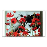 Audrey in Poppies Sticker (Rectangle 50 pk)
