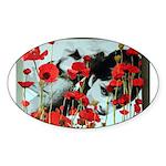 Audrey in Poppies Sticker (Oval 50 pk)