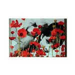Audrey in Poppies Rectangle Magnet (100 pack)