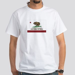 California Surfing Bear Flag White T-Shirt