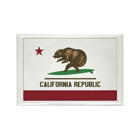 California Surfing Bear Flag Rectangle Magnet