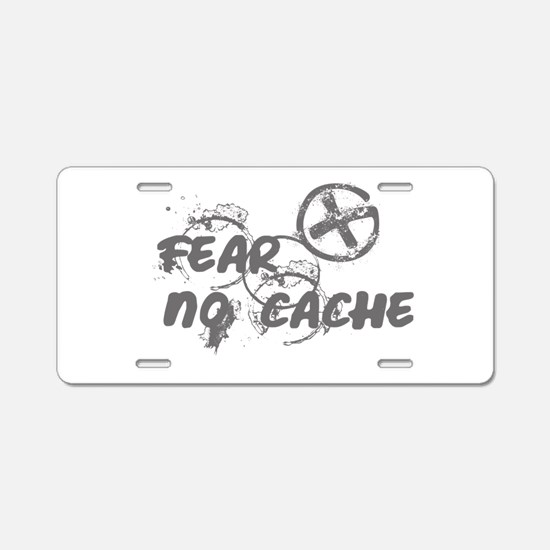 Geocaching NO FEAR gray Grunge Aluminum License Pl