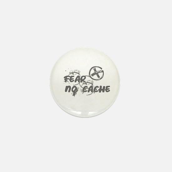 Geocaching NO FEAR gray Grunge Mini Button