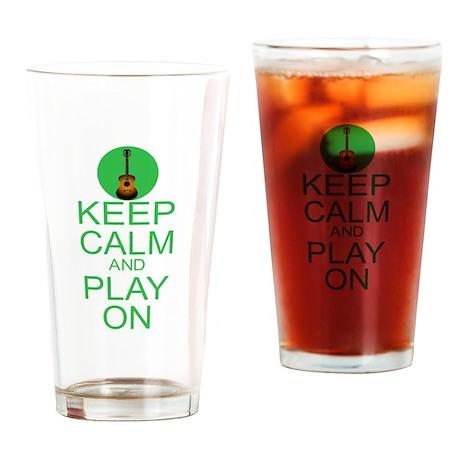 Keep Calm Play On (Guitar) Drinking Glass