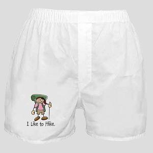 I Like To Hike Girl (Green) Boxer Shorts