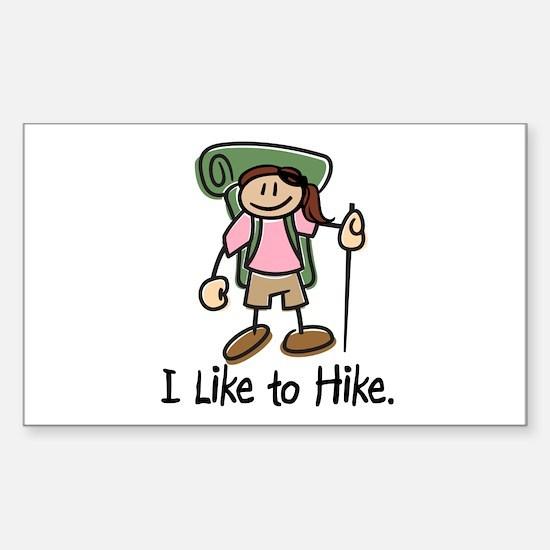 I Like To Hike Girl (Green) Sticker (Rectangle)