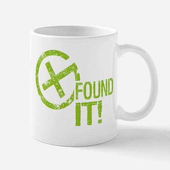 Geocaching FOUND IT! green Grunge Mug