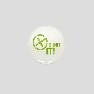 Geocaching FOUND IT! green Grunge Mini Button