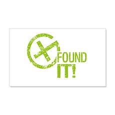 Geocaching FOUND IT! green Grunge 22x14 Wall Peel